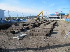 整備場棟の基礎掘削作業の様子