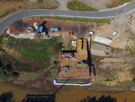 ドローンで上空から撮影した施工状況