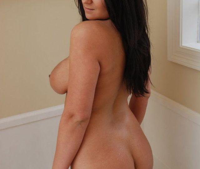 Busty Brunette Coed Standing In A Bathtub