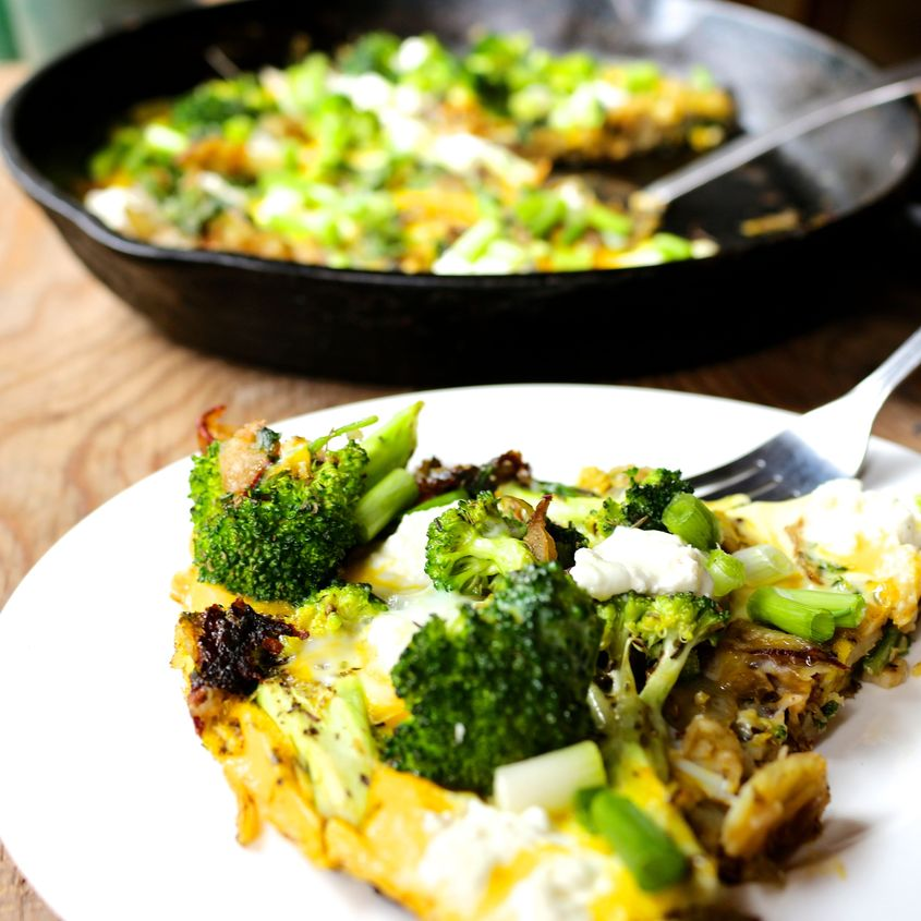 Goat Cheese, Broccoli & Wood Sorrel Frittata