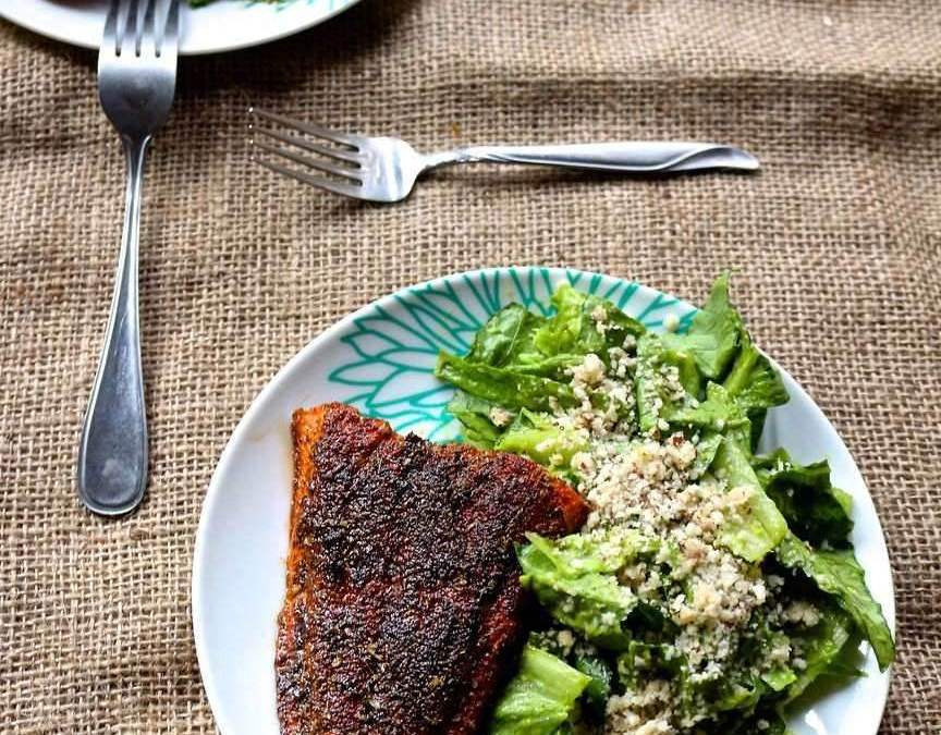 Blackened Cajun Salmon with Mayo Free Avocado Caesar Salad and Brazil Nut Parmesean