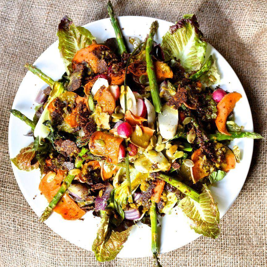 Roasted Sweet Potato Asparagus & Radish Salad