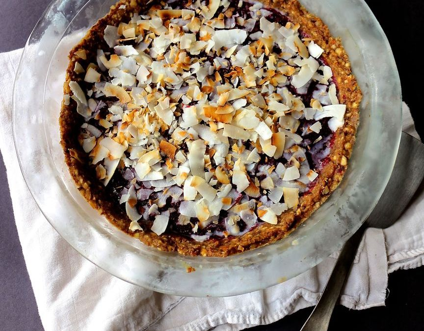 Cardamom Plum and Berry Tart (no bake)