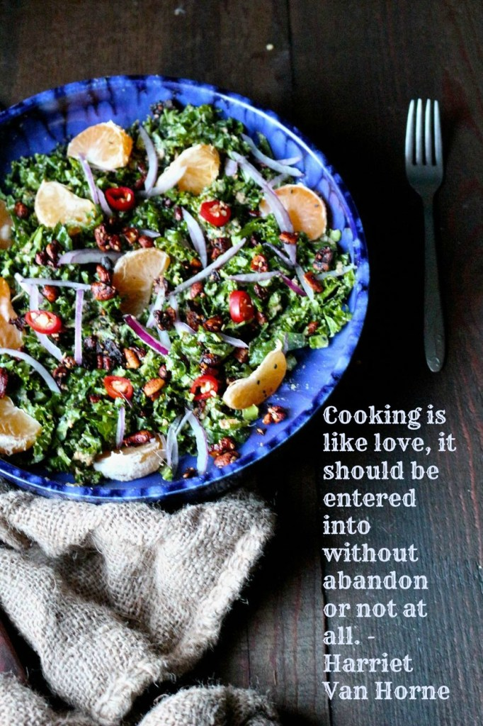 Mandarin and Kale Salad with Ginger Sunshine Sauce