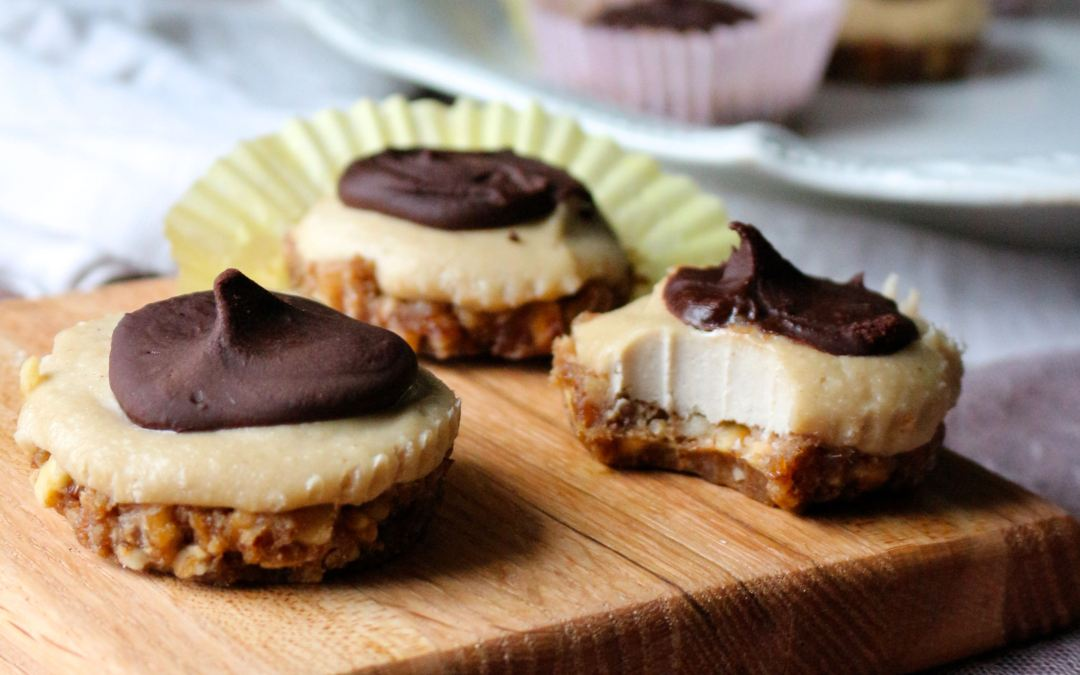 Raw Creamy Chocolate Tarts with Caramel Hazelnut Crust