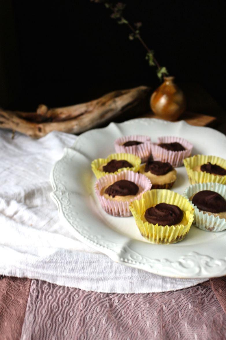 Raw Creamy Chocolate Tarts with Caramel Hazelnut Crust