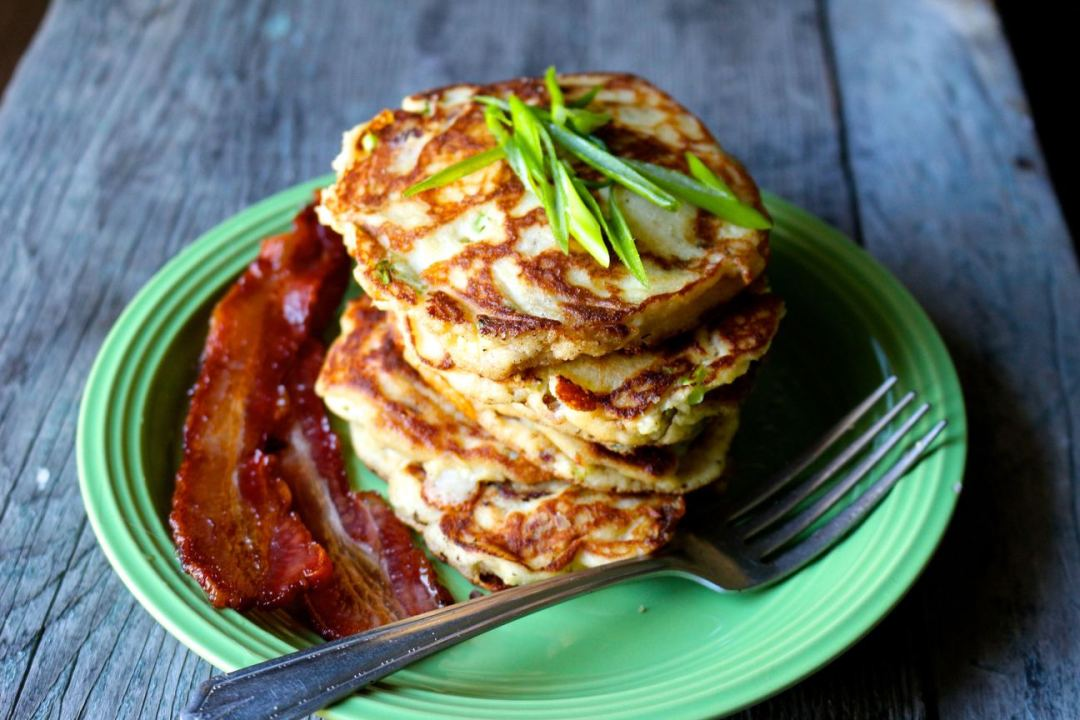 bacon and scallion paleo pancakes
