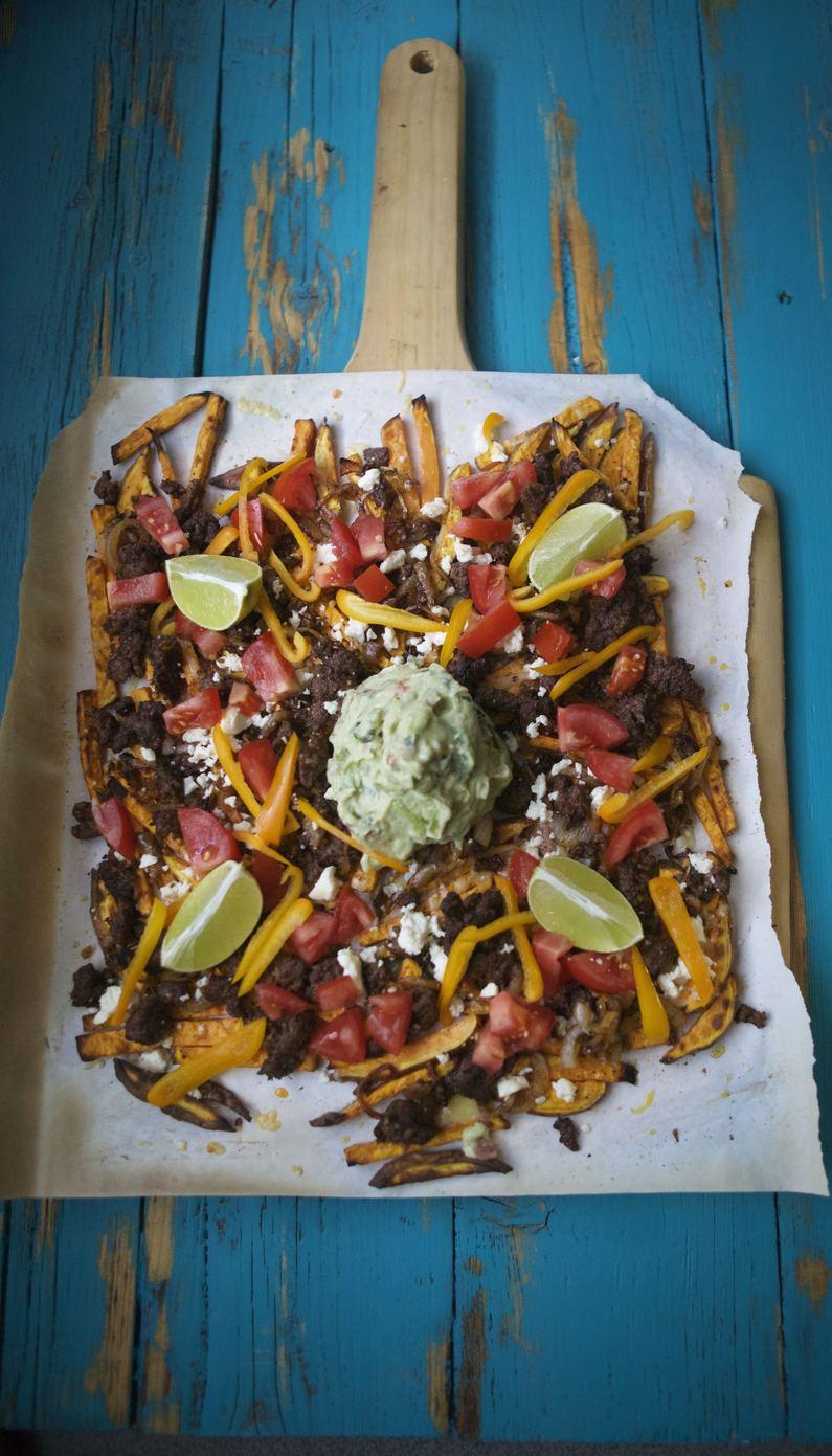 loaded tex mex sweet potato fries