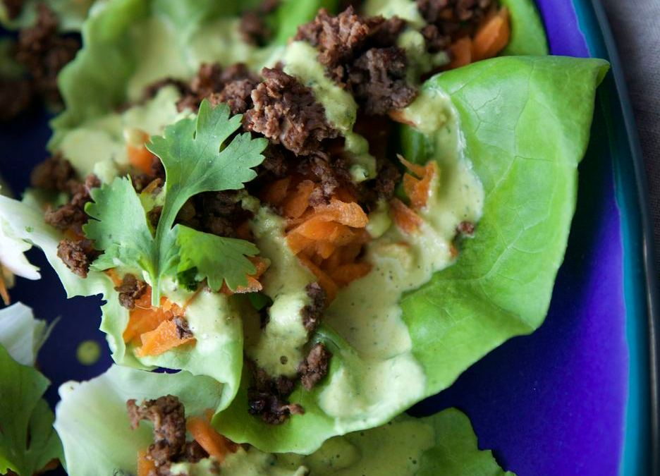 Chipotle Elk Lettuce Wraps with Cashew Queso