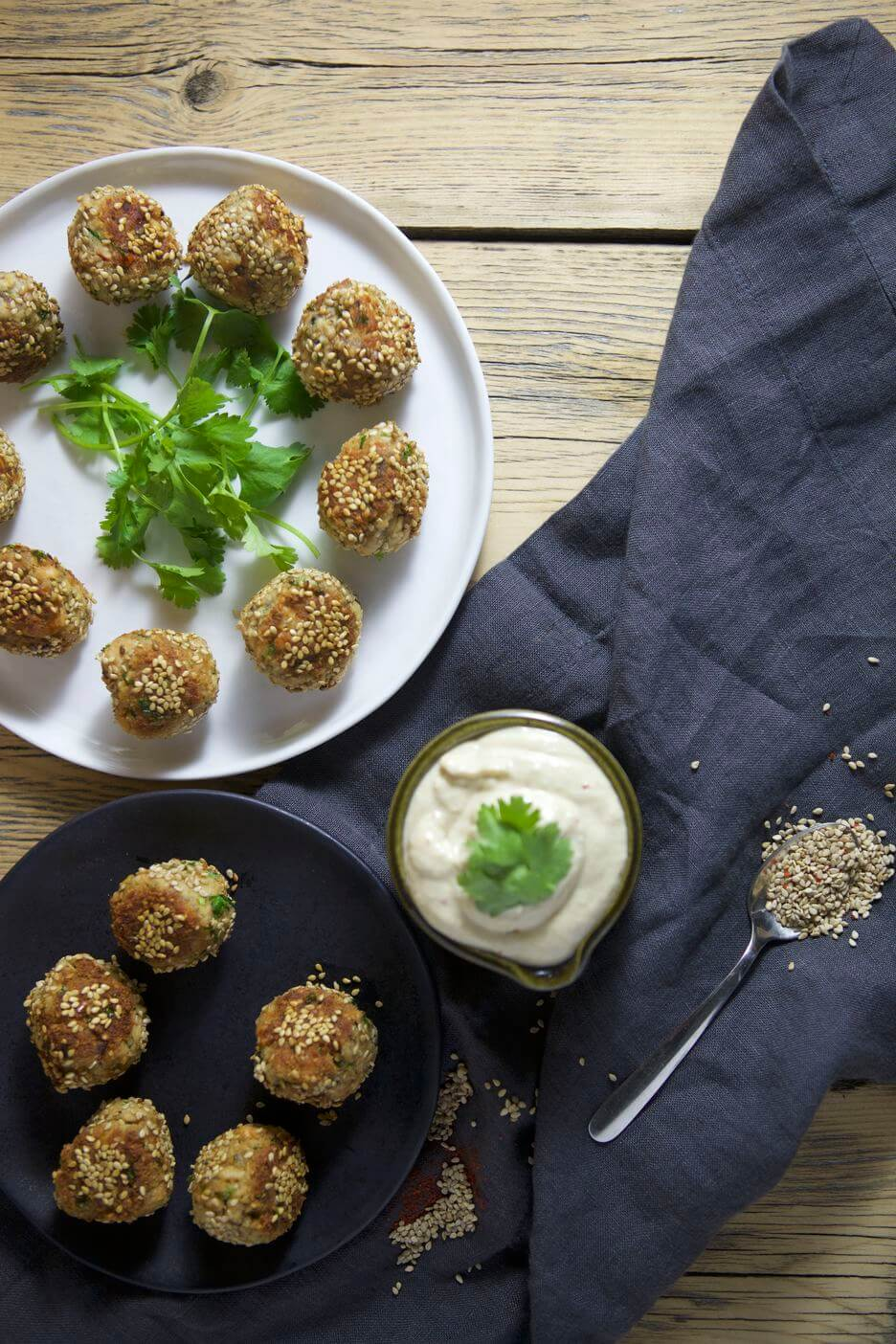 SESAME SALMON BALLS AND GINGER TAHINI DIPPING SAUCE