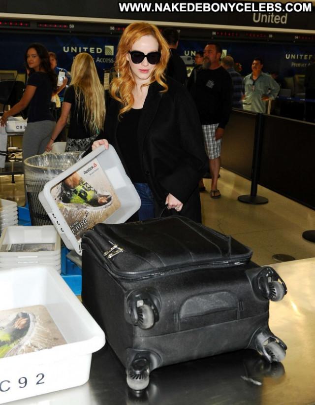 Christina Hendricks Lax Airport Paparazzi Celebrity Lax Airport Babe