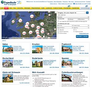 Expedia Ferienhäuser Bildschirmfoto