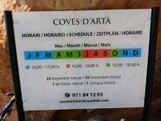 Coves Arta Öffnungszeiten
