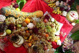 Frohe Weihnachten Gemüsedeko