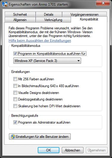 Windows 7 / 64Bit Einstellungen für Anno 1701