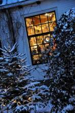 verschneites Fenster