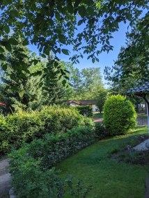 Eine grüne Parkanlage am Waldrand
