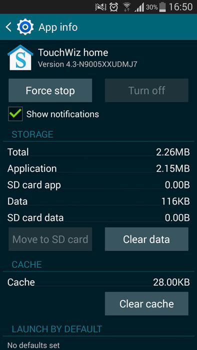 galaxy s3 touchwiz launcher стереть данные