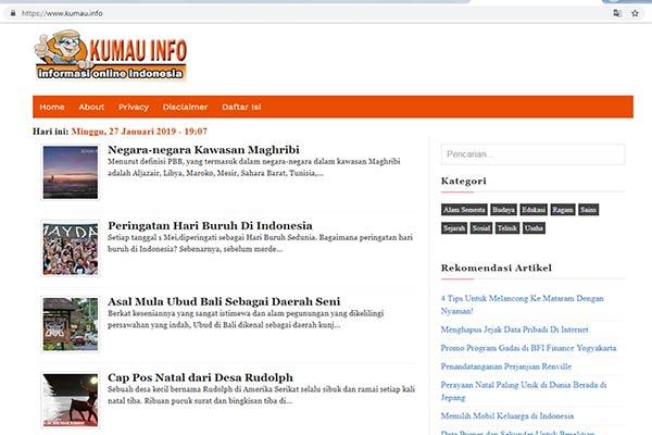 Tampilan Blog Kumau Info