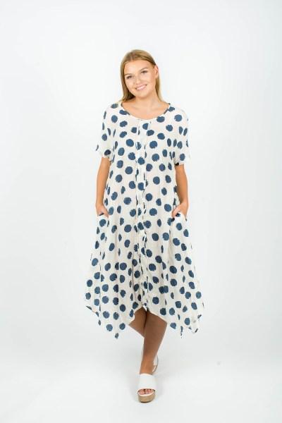 Poppy Dress Spot Navy