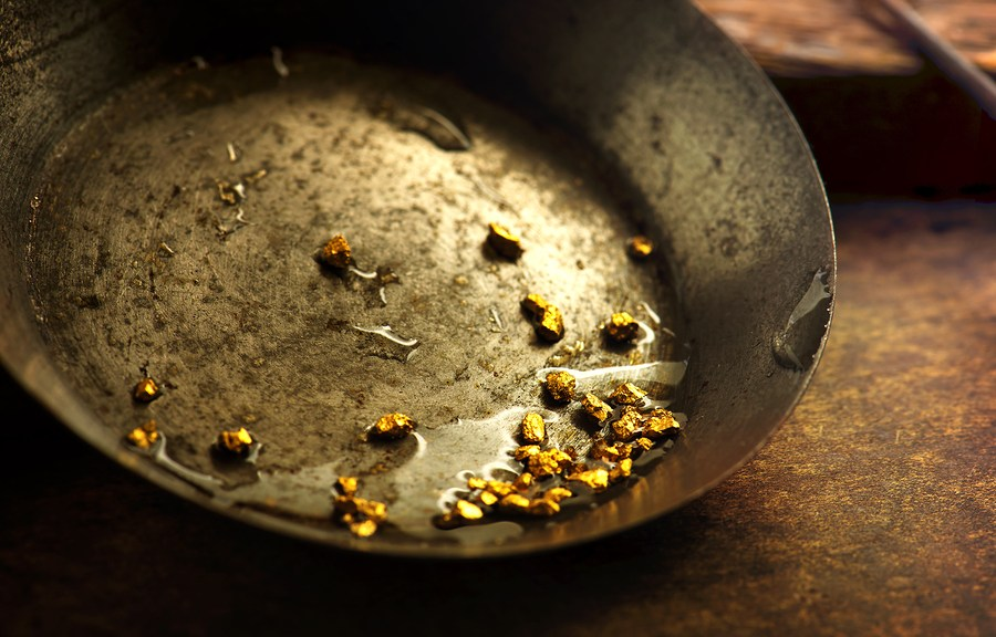 Pan With Gold Nuggets Implying Rush
