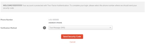 two-factor authentication screen