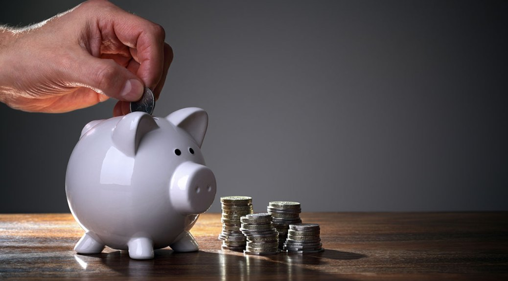 saving money in piggy bank for premium domains
