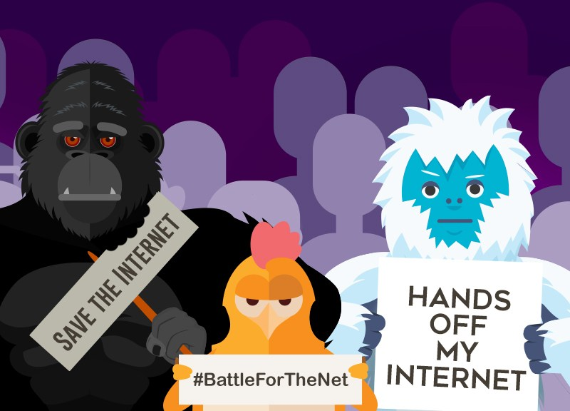 battle for the net with characters holding signs