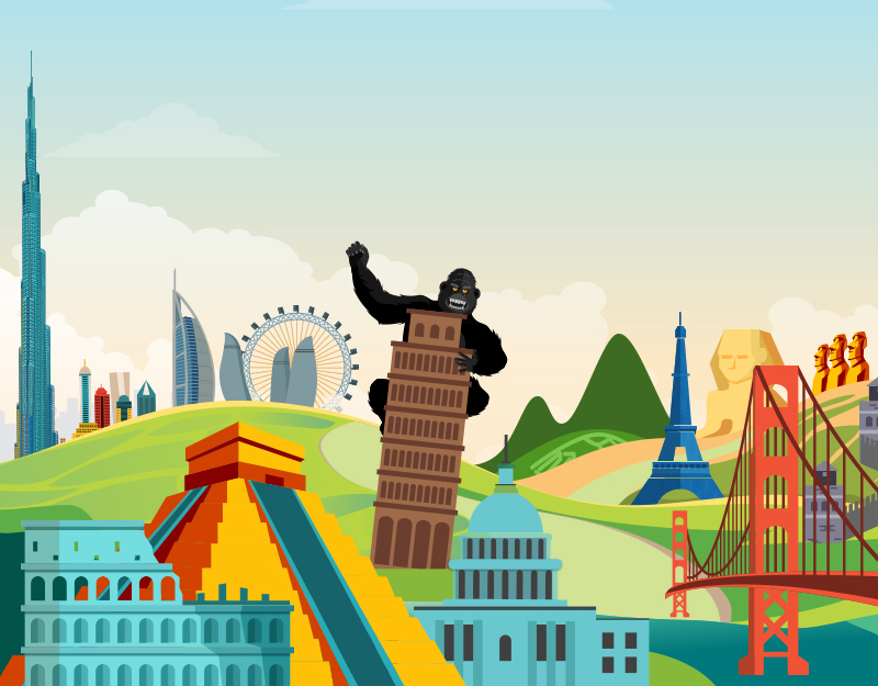 KingCom gorilla waving from atop the Leaning Tower of Pisa