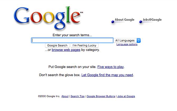 Snapshot of Google in 2000