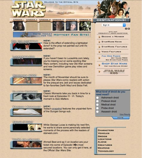snapshot of starwars.com in 2000