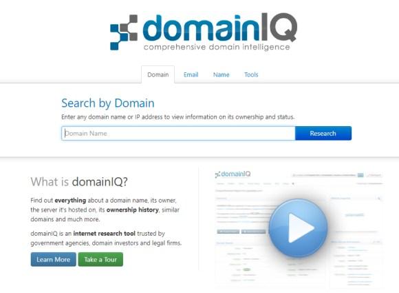 screenshot of domainIQ