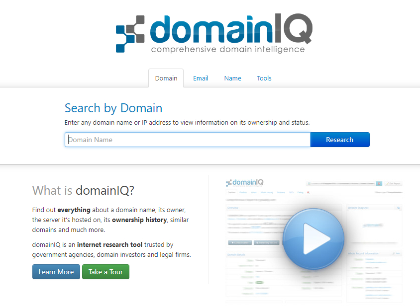 screenshot of domainIQ