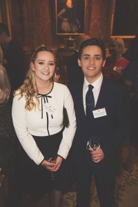 Samuel Carvalho and his partner Ashleigh Bainbridge at Buckingham Palace