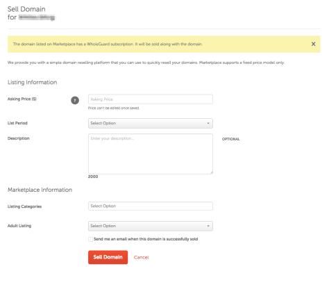 screenshot of sell domain page at Namecheap