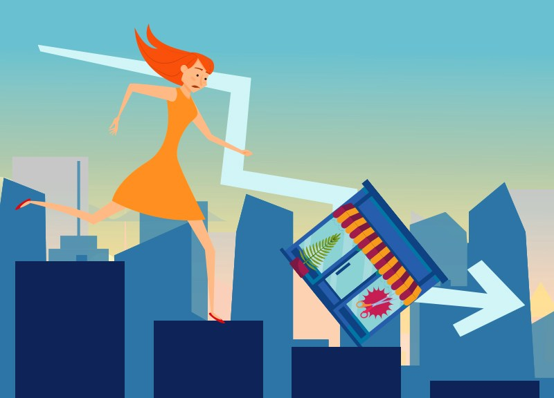 illustration with woman and small business
