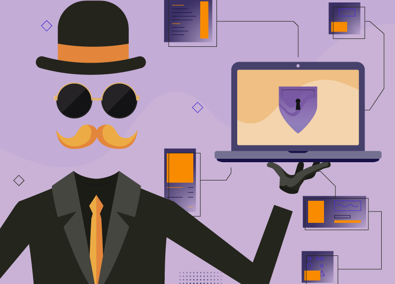 Invisible man with laptop showing WhoisGuard is free