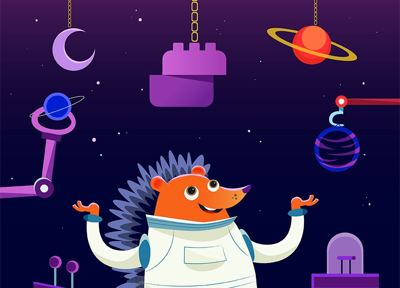 hedgehog in space promoting website builder