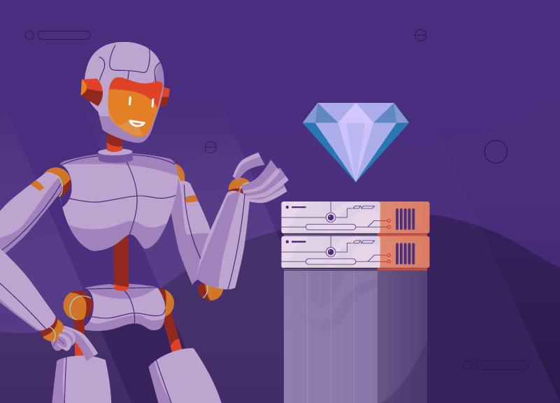 robot showing off premium DNS server
