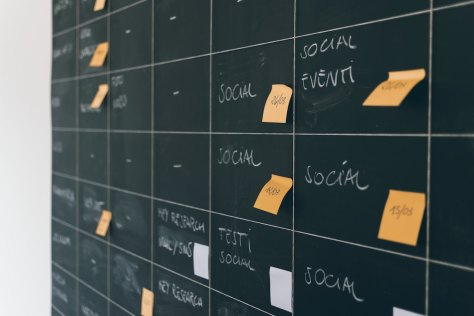 post-it notes on a blackboard calendar