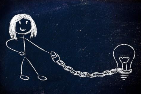 stickfigure of woman holding idea lightbulb on a chain