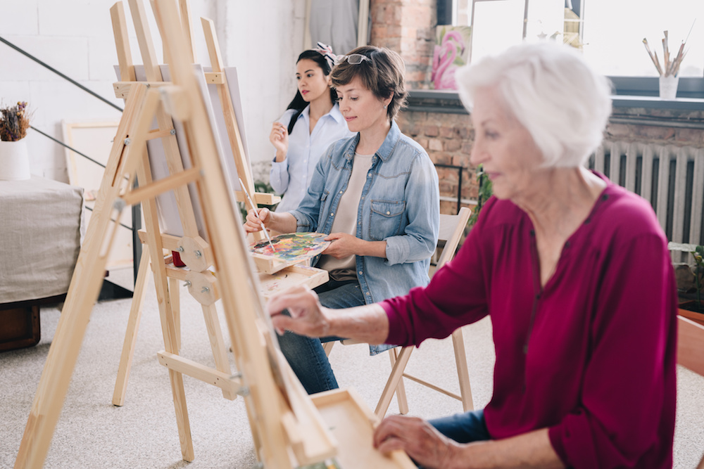 women in a painting class