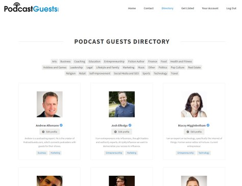 screenshot from podcastguests site