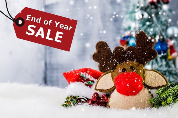 toy with tag announcing end of year sale