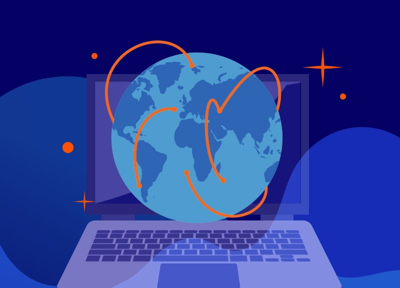 Graphic of laptop and globe to promote Namecheap VPN