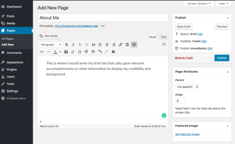 creating a new page in WordPress