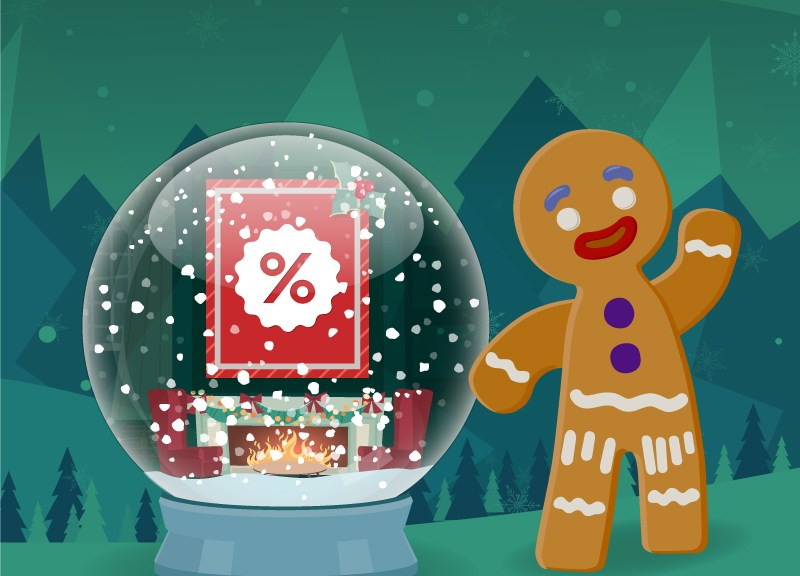 gingerbread man and snow globe