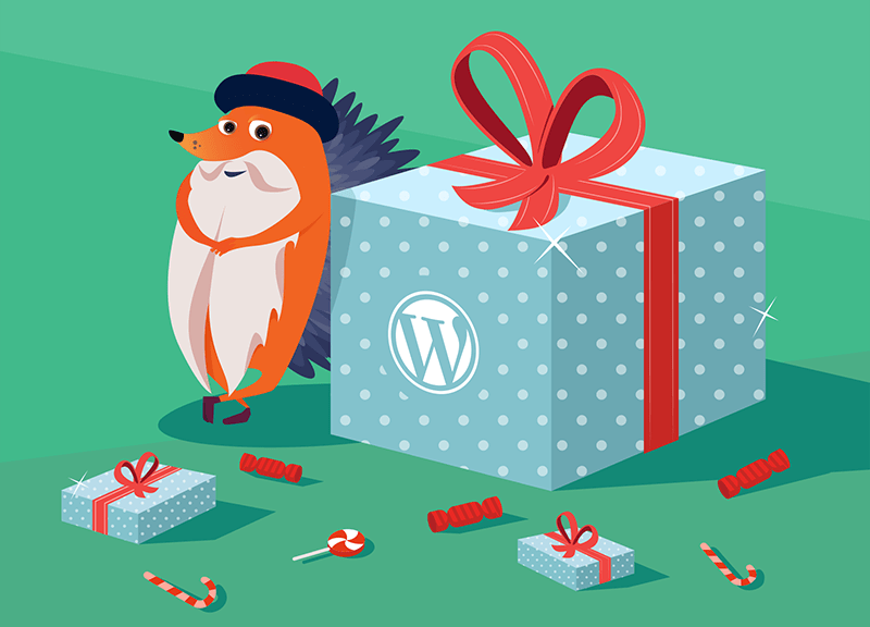 Gutenberg hedgehog with WordPress present