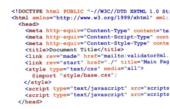 screenshot of html source code