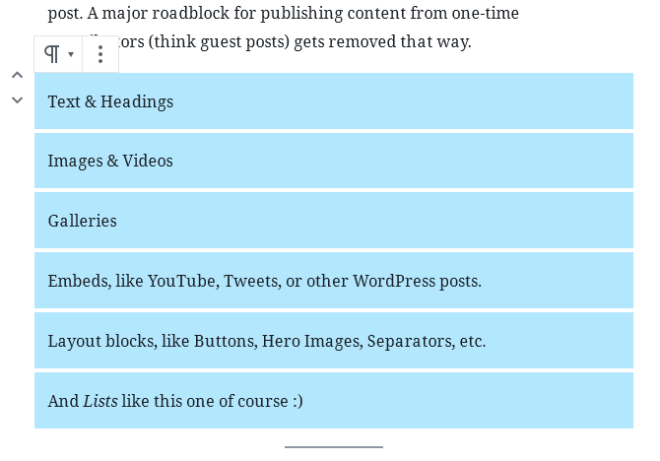 screenshot of text and headings in Gutenberg